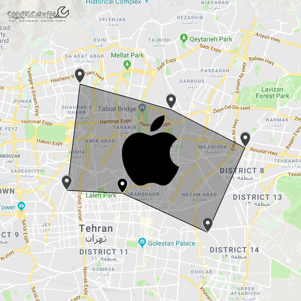 مناطق نمابندگی اپل در تهران