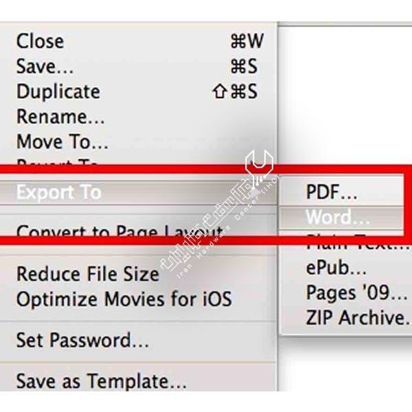 تبدیل سندهای Pages به فایل ورد در مک بوک